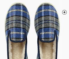 Idée cadeau : Chaussons charentaises homme fourrées laine bleues à carreaux pas cher - Blancheporte