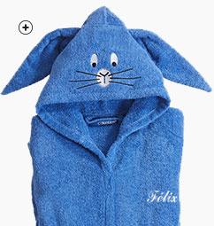 Peignoir de bain bleu personnalisable à capuche lapin
