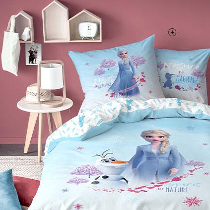 Idée cadeau : Linge de lit parure enfant bleu La reine des neiges® coton - Blancheporte