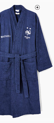 Peignoir de bain bleu personnalisable équipe de france