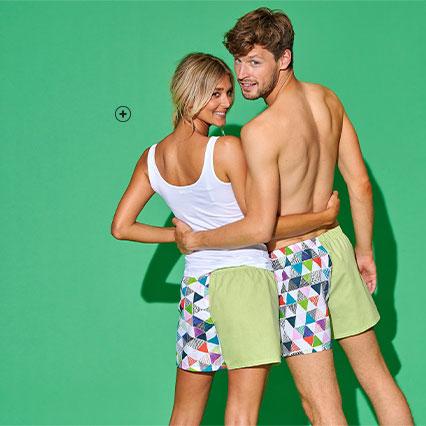 Idée cadeau : Caleçon vert imprimé upcycling pour homme ou femme - Blancheporte X La Vie est Belt®