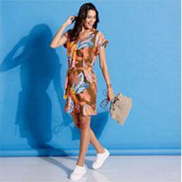 Robe imprimée tropical col V
