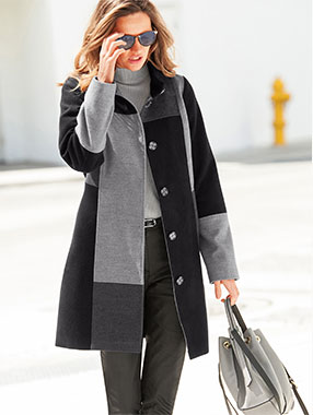 Manteau effet patchwork