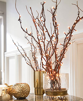 branches en bois lumineuses