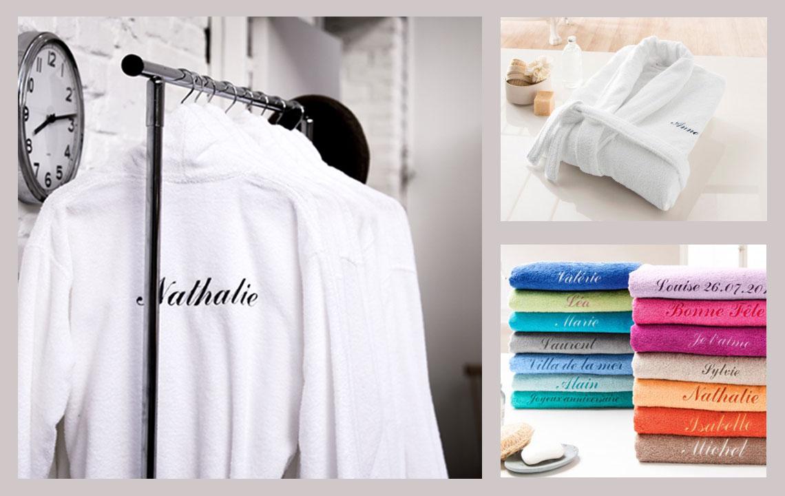 Une serviette ou un peignoir personnalisé, labonne idée cadeau.