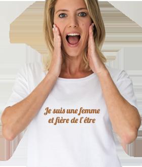Tee-shirt imprimé je suis une femme