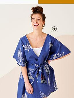 Kimono ceinturé manches évasées bleu imprimé coton upcycling - Blancheporte