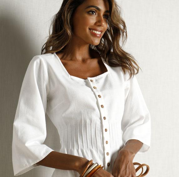 Robe d'été blanche en lin boutonnée - Blancheporte