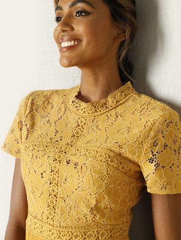 Robe d'été jaune dentelle macramé - Blancheporte
