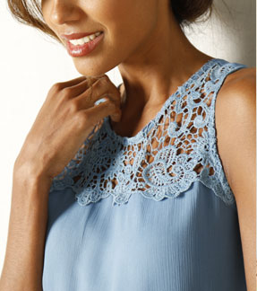 Robe d'été bleu macramé - Blancheporte