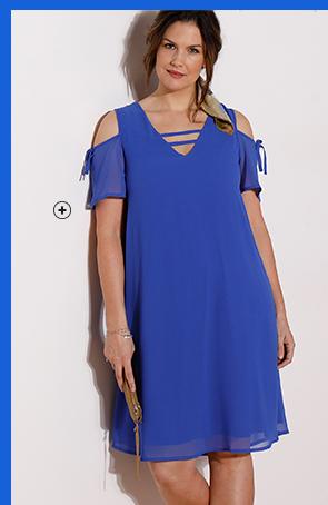 Robe bleu épaules dénudées