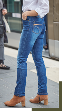 Jean bleu droit finitions aspect enduit