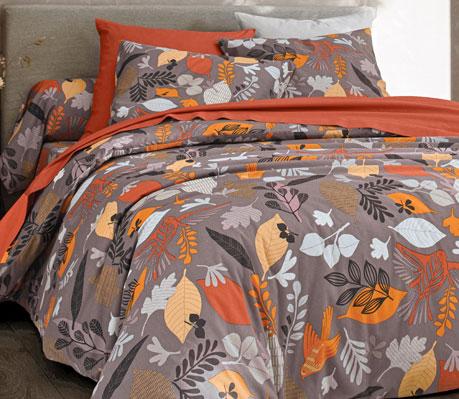 Parure de lit marron fleurie