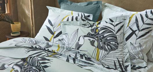 Parure de lit verte imprimé tropical