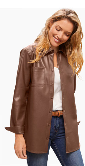 Surchemise marron aspect cuir