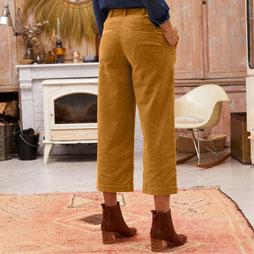 Pantalon marron large en velours