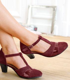 Chaussure salomé bordeaux et noir en velours