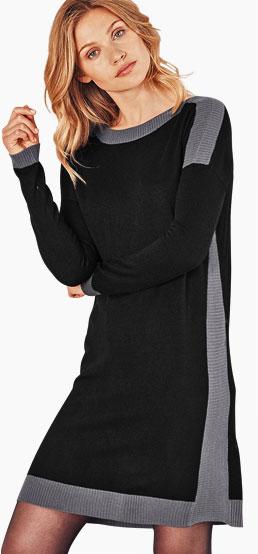 Robe pull noire et grise à bandes