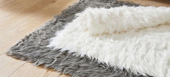 Tapis shaggy à blanc poils longs blanc - Blancheporte