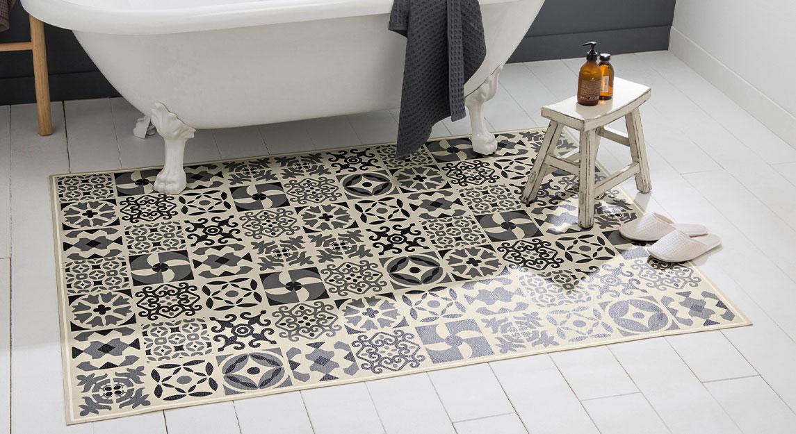 Tapis de salle de bain vinyle effet carreaux de ciment gris - Blancheporte