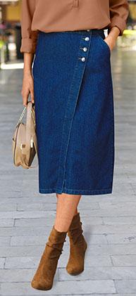 Jupe bleu portefeuille en jean