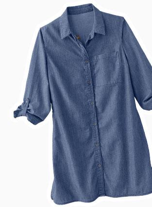 Chemise longue en jean avec broderie pour femme