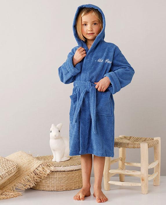 Peignoir bleu à capuche personnalisable éponge enfant COLOMBINE® en coton - pas cher - Blancheporte