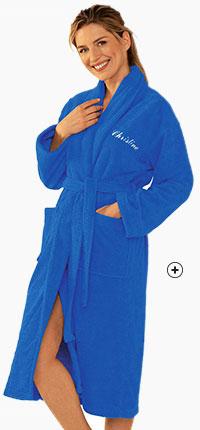 Peignoir bleu personnalisable avec col