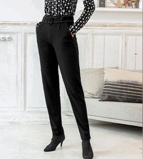 Pantalon noir en maille milano