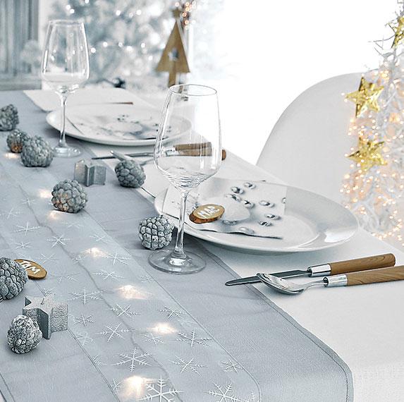 Chemin de table Noël argenté lumineux - Blancheporte