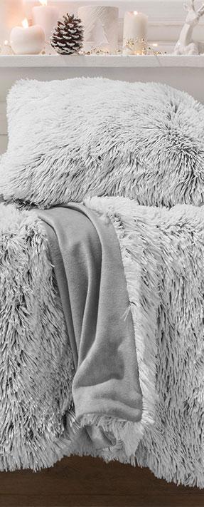 Plaid doux et chaud gris fausse fourrure - Blancheporte