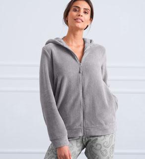 Veste polaire grise à capuche toucher peluche pas cher- Blancheporte
