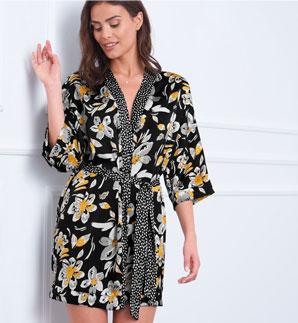 Kimono court satin noir et jaune imprimé fleuri pas cher - Blancheporte
