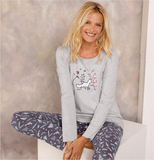 Tee-shirt pyjama gris imprimé renard manches longues en coton pas cher - Blancheporte