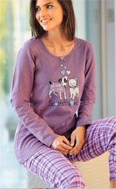 Pyjama chiens violet maille et flanelle pas cher - Blancheporter