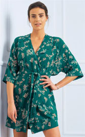 Peignoir vert fluide forme kimono imprimé japonisant en viscose pas cher - Blancheporte