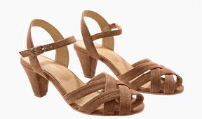 Sandales marron à talons brides croisées cheville en cuir pas cher - Blancheporte
