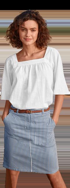 Blouse blanche ample unie col carré en coton pas cher - Blancheporte