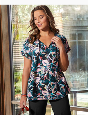 Blouse bleue et rose imprimé tropical à pompons manches courtes pas cher grande taille Isabella® - Blancheporte