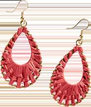 Boucles d'oreilles pendantes rouges raphia et doré avec fermeture crochets pas cher - Blancheporte