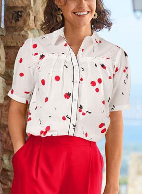 Chemise blanche imprimée fruits rouges découpes volantées en coton manches courtes pas cher - Blancheporte
