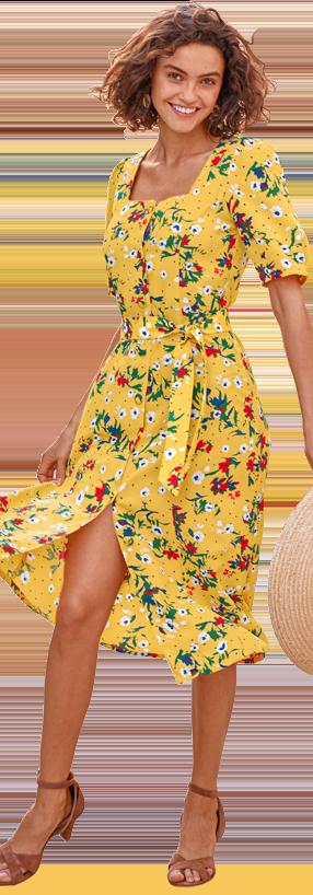 Robe jaune mi-longue col carré imprimée fleurs ceinturée manches courtes pas cher - Blancheporte
