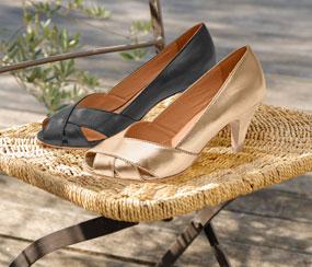 Escarpins doré ou noir à talons bout ouvert en cuir pas cher - Blancheporte