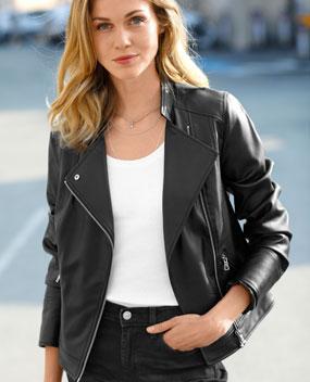 Veste perfecto similicuir noir zippé avec poches pas cher - Blancheporte
