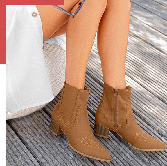Boots à talons marron western bout pointu aspect suédine pas cher - Blancheporte