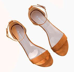 Sandales marron compensées suédine à bride cheville pas cher - Blancheporte
