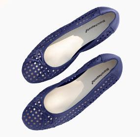 Ballerines bleues compensées cuir ajouré pas cher - Blancheporte