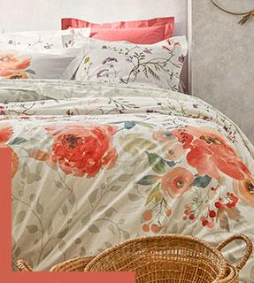 Parure linge de lit rose et blanc imprimé fleuris coton Oeko-Tex® Colombine® pas cher - Blancheporte