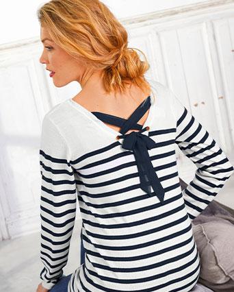 Pull femme rayé marinière bleu et blanc lacet au dos manches longues pas cher - Blancheporte