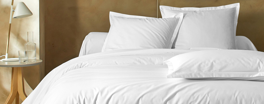 Parure linge de lit blanc coton Oeko-Tex® Colombine® pas cher - Blancheporte